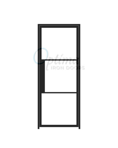 3 LITE NARROW PROFILE OID-3080-NP3LT: Narrow Profile SIngle Iron Door with Glass 4 Lite