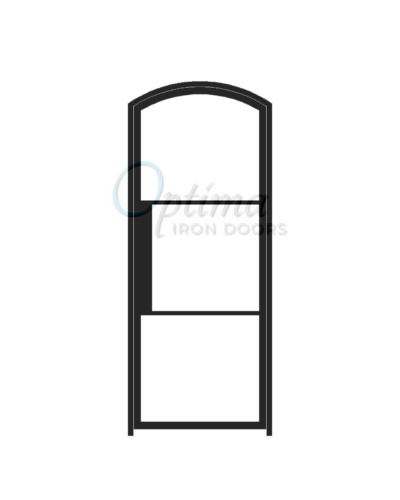 Narrow Profile Arch Top Single Iron Door - 3 LITE NARROW PROFILE OID-3080-NP3LTAT