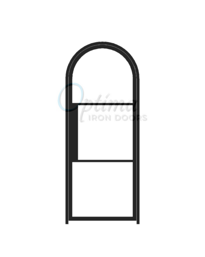 Narrow Profile Radius Top Single Iron Door - 3 LITE NARROW PROFILE OID-3080-NP3LTRT