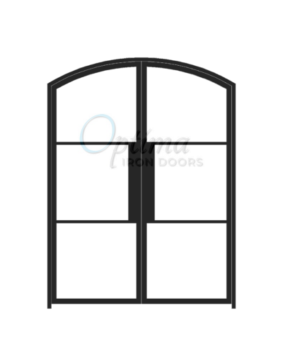 Narrow Profile Arch Top 3 Lite Double Iron Door - OID-6080-NP3LTAT