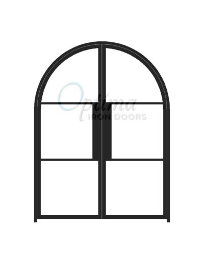 Narrow Profile Radius Top 3 Lite Double Iron Door - OID-6080-NP3LTRT