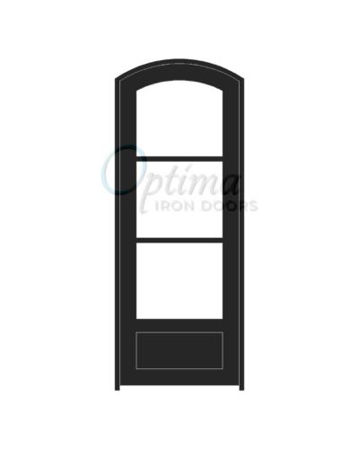 Standard Profile Arch Top 3 Lite Single Iron Door - OID-3080-3LT1PAT