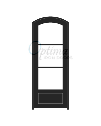 Standard Profile Arch Top 3 Lite Single Iron Door - OID-3080-3LT1PAT