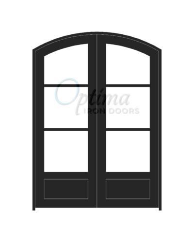 Standard Profile Arch Top 3 Lite Double Iron Door - OID-6080-3LT1PAT
