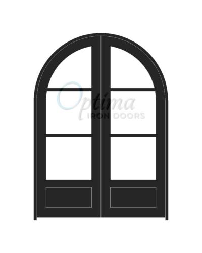 Standard Profile Radius Top 3 Lite Double Iron Door - OID-6080-3LT1PRT