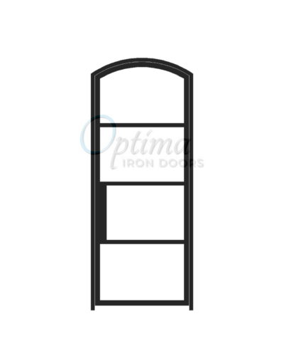 Narrow Profile Arch Top 4 Lite Single Iron Door - OID-3080-NP4LTAT