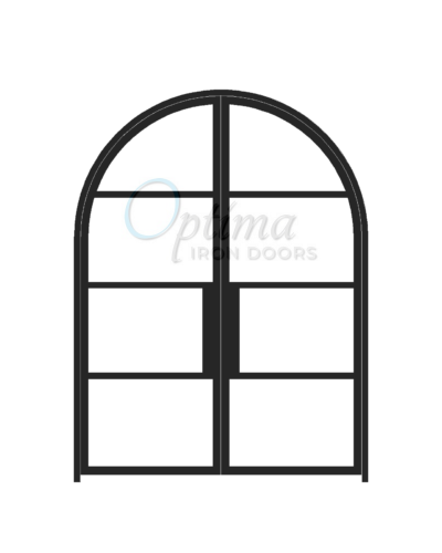 Narrow Profile Radius Top 4 Lite Double Iron Door - OID-6080-NP4LTRT