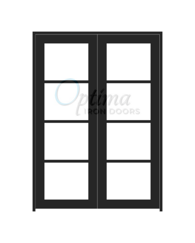 Standard Profile Square Top 4 Lite Double Iron Door - OID-6080-4LT