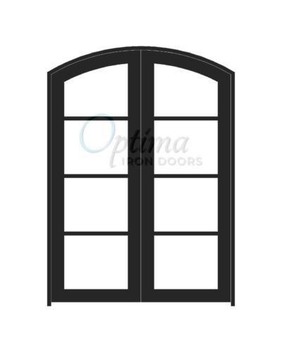 Standard Profile Arch Top 4 Lite Double Iron Door - OID-6080-4LTAT