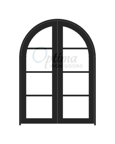 Standard Profile Radius Top 4 Lite Double Iron Door - OID-6080-4LTRT