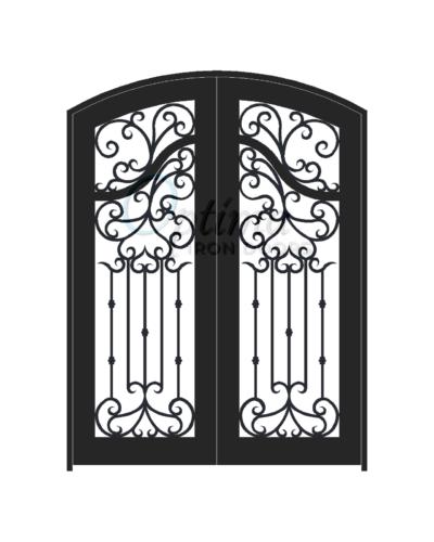 ACADIA* Standard Profile Arch Top Decorative Glass Full Light Double Iron Door - OID-6080-ACAAT