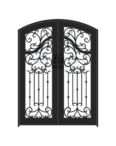 ACADIA* Standard Profile Arch Top Decorative Glass Full Light Double Iron Door - OID-6080-ACAAT