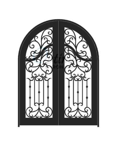 ACADIA* Standard Profile Radius Top Full Light Decorative Glass Iron Door - OID-6080-ACART