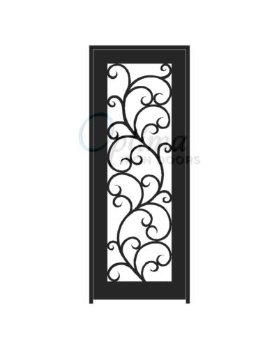ALAMO* Standard Profile Full Light Decorative Glass Single Iron Door - OID-3080-ALA