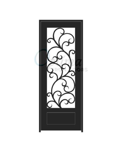 ALAMO* Standard Profile Square Top 3/4's Lite Decorative Glass Single Iron Door - OID-3080-ALA1P