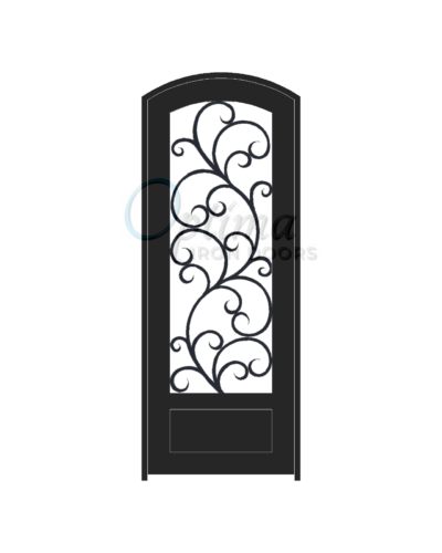 ALAMO* Standard Profile Arch Top 3/4's Lite Decorative Glass Single Iron Door - OID-3080-ALA1PAT