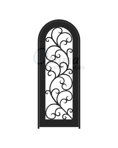 ALAMO* Standard Profile Radius Top Full Light Decorative Glass Single Iron Door - OID-3080-ALART