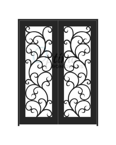 ALAMO* Standard Profile Square Top Full Light Decorative Glass Double Iron Door - OID-6080-ALA