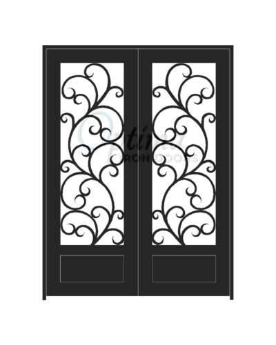 ALAMO* Standard Profile Square Top 3/4's Lite Decorative Glass Double Iron Door - OID-6080-ALA1P