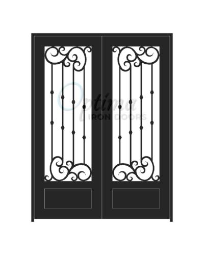 Standard Profile Square Top 3/4's Lite Double Iron Door - ALYSSA OID-6080-ALY1P