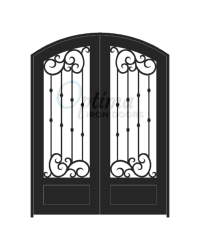 Standard Profile Arch Top 3/4's Lite Decorative Glass Double Iron Door - ALYSSA OID-6080-ALY1PAT