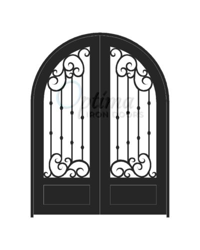 Standard Profile Radius Top 3/4's Lite Decorative Glass Double Iron Door - ALYSSA OID-ALY1PRT