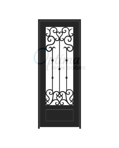 Standard Profile Square Top 3/4's Lite Decorative Glass Single Iron Door - ANGELO OID-3080-ANG1P