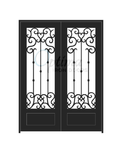 Standard Profile Square Top 3/4's Lite Decorative Glass Double Iron Door - ANGELO OID-6080-ANG1P