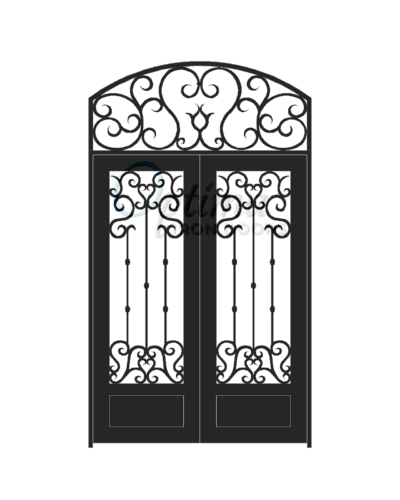 Standard Profile Square Top w/HT 3/4's Lite Decorative Glass Double Iron Door - ANGELO OID-6080-ANG1PSHT