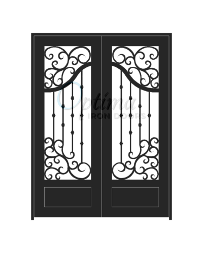 Standard Profile Square Top 3/4's Lite Decorative Glass Double Iron Door - ASTRID OID-6080-AST1P