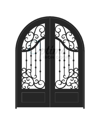 Standard Profile Radius Top 3/4's Lite Decorative Glass Double Iron Door - ASTRID OID-6080-AST1PRT