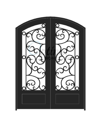 Standard Profile Arch Top 3/4's Lite Decorative Glass Double Iron Door - ATHENAS OID-6080-ATH1PAT