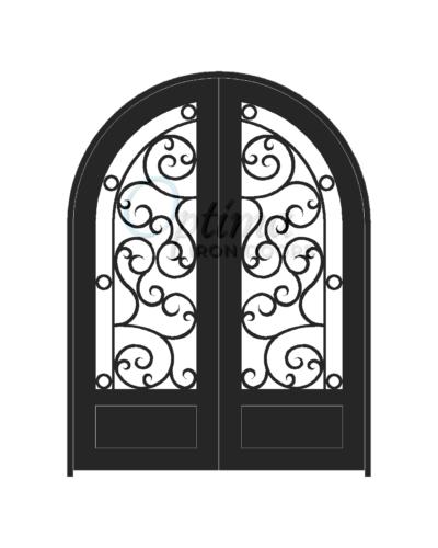 Standard Profile Radius Top 3/4's Lite Decorative Glass Double Iron Door - ATHENAS OID-6080-ATH1PRT