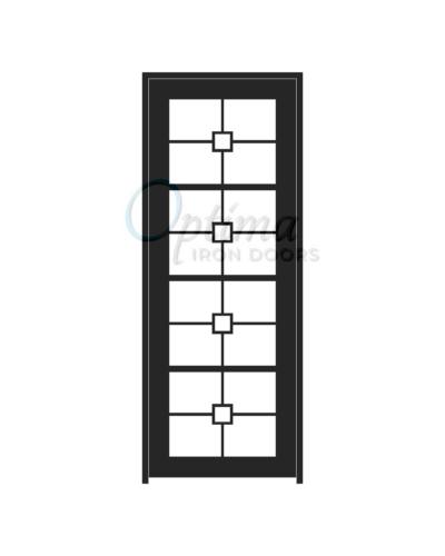 Standard Profile Square Top 4 Lite Decorative Glass Single Iron Doors - AUDREY OID-3080-AUD