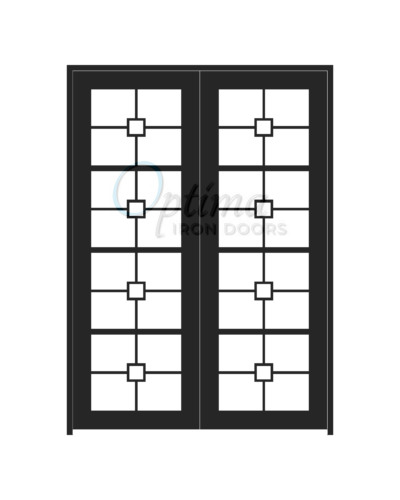 Standard Profile Square Top 4 Lite Decorative Glass SIngle Iron Door - AUDREY OID-6080-AUD