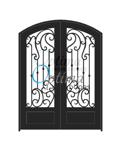 Standard Profile Arch Top 3/4's Lite Decorative Glass Double Iron Door - BRINA OID-6080-BRI1PAT