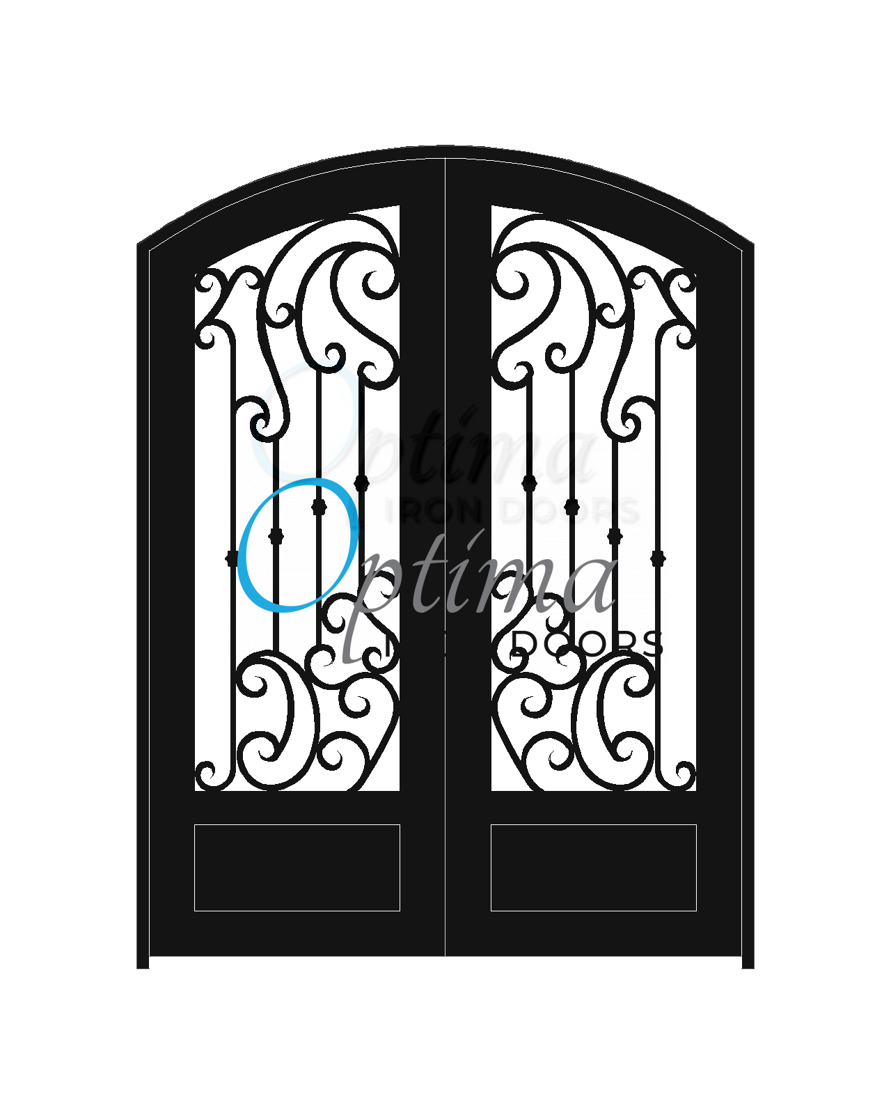 Standard Profile Arch Top 3/4's Lite Decorative Glass Double Iron Door - BRINA OID-6080-BRI1PAT