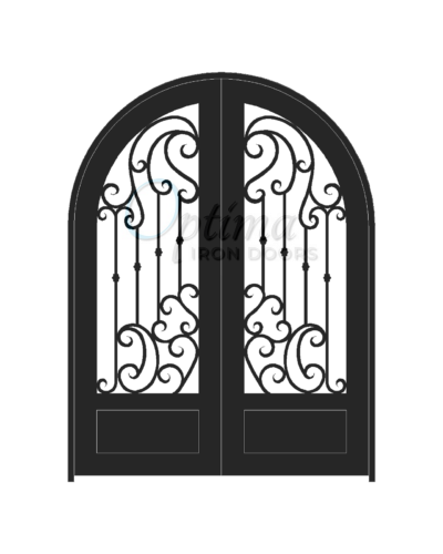 Standard Profile Radius Top 3/4's Lite Decorative Glass Double Iron Door - BRINA OID-6080-BRI1PRT
