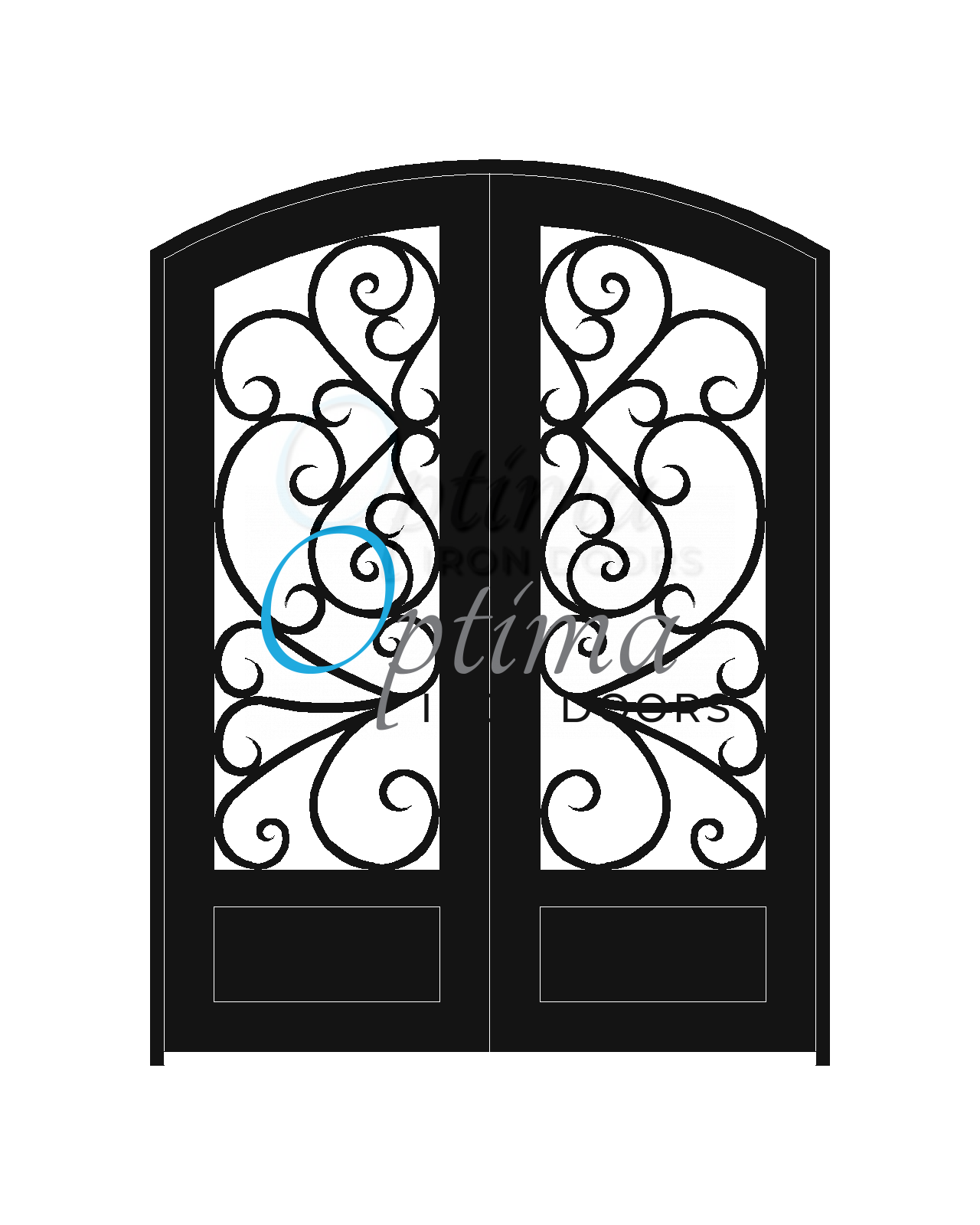 Standard Profile Arch Top 3/4's Lite Decorative Glass Double Iron Door - BUTTERFLY OID-6080-BUT1PAT