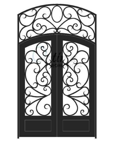 Standard Profile Arch Top w/HT 3/4's Lite Decorative Glass Double Iron Door - BUTTERFLY OID-6080-BUT1PDAT
