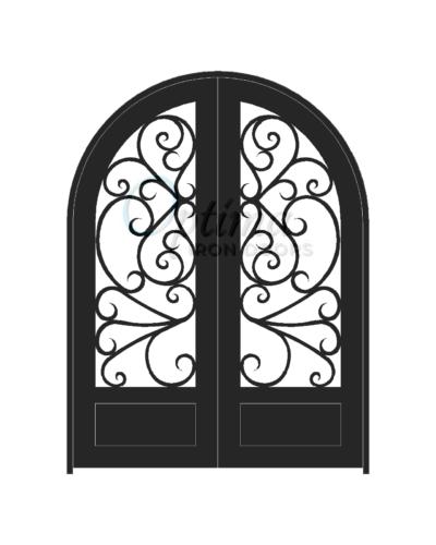 Standard Profile Radius Top 3/4's Lite Decorative Glass Double Iron Door - BUTTERFLY OID-6080-BUT1PRT