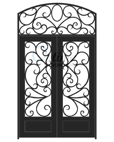 Stardard Profile Square Top w/HT Full Lite Decorative Glass Double Iron Door - BUTTERFLY OID-6080-BUT1PSHT
