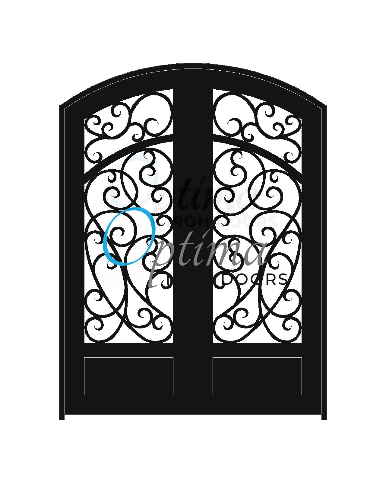 Standard Profile Arch Top 3/4's Lite Decorative Glass Double Iron Door - CHIARA OID-6080-CHI1PAT