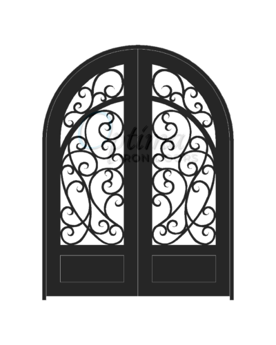 Standard Profile Radius Top 3/4's Lite Decorative Glass Double Iron Door - CHIARA OID-6080-CHI1PRT