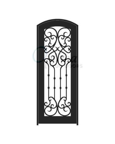 Standard Profile Arch Top Full Lite Decorative Glass Single Iron Door - CHLOE OID-3080-CHLAT