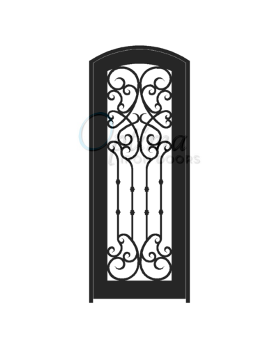 Standard Profile Arch Top Full Lite Decorative Glass Single Iron Door - CHLOE OID-3080-CHLAT