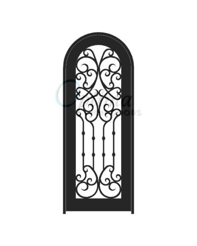 Standard Profile Radius Top Full Lite Decorative Glass Single Iron Door - CHLOE OID-3080-CHLRT