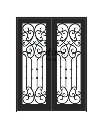 Standard Profile Square Top Full Lite Decorative Glass Double Iron Door - CHLOE OID-6080-CHL