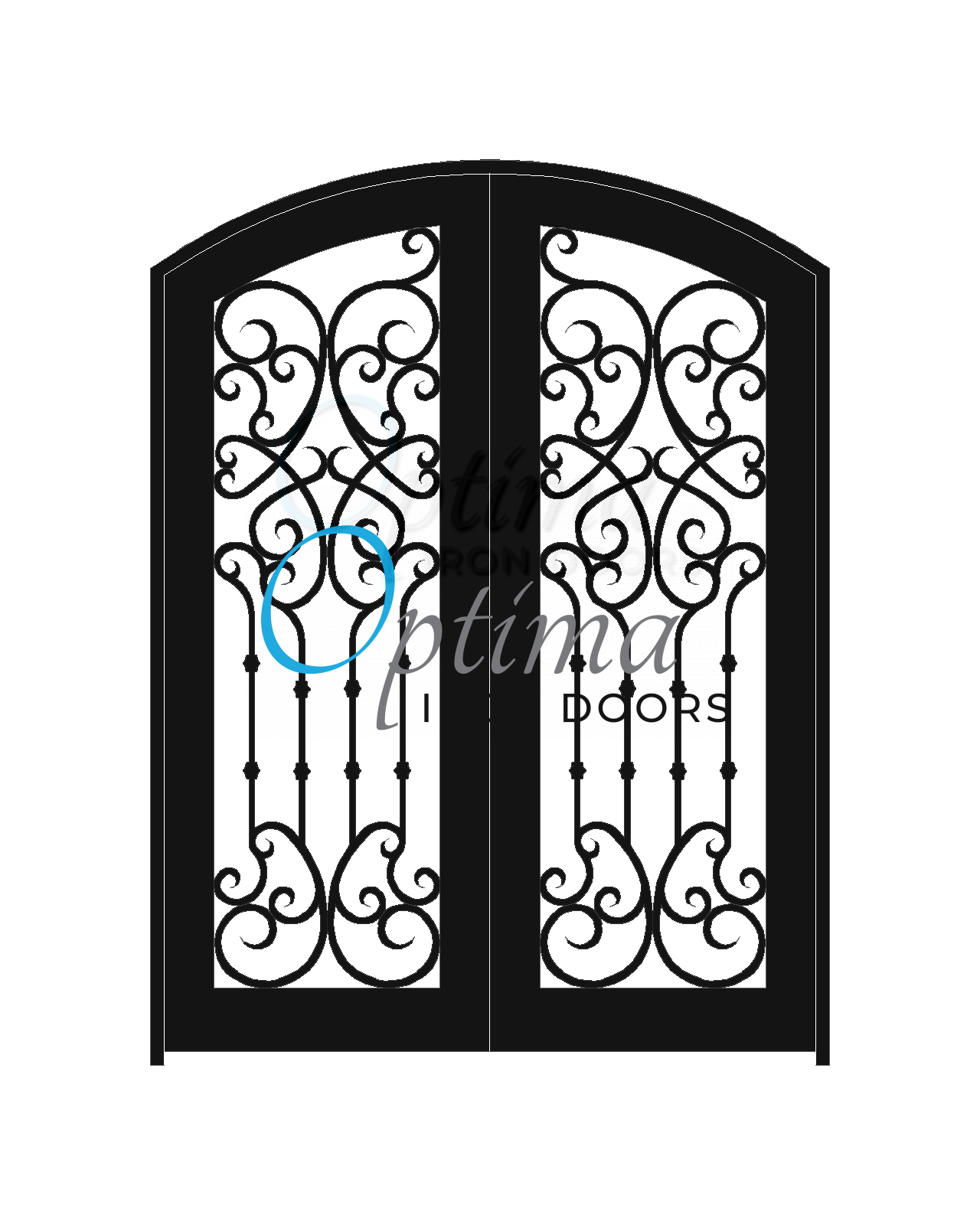 Standard Profile Arch Top Full Lite Decorative Glass Double Iron Door - CHLOE OID-6080-CHLAT