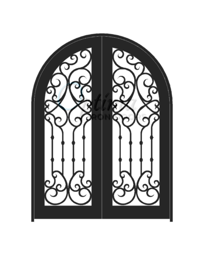 Standard Profile Radius Top Full Light Decorative Glass Double Iron Door - CHLOE OID-6080-CHLRT